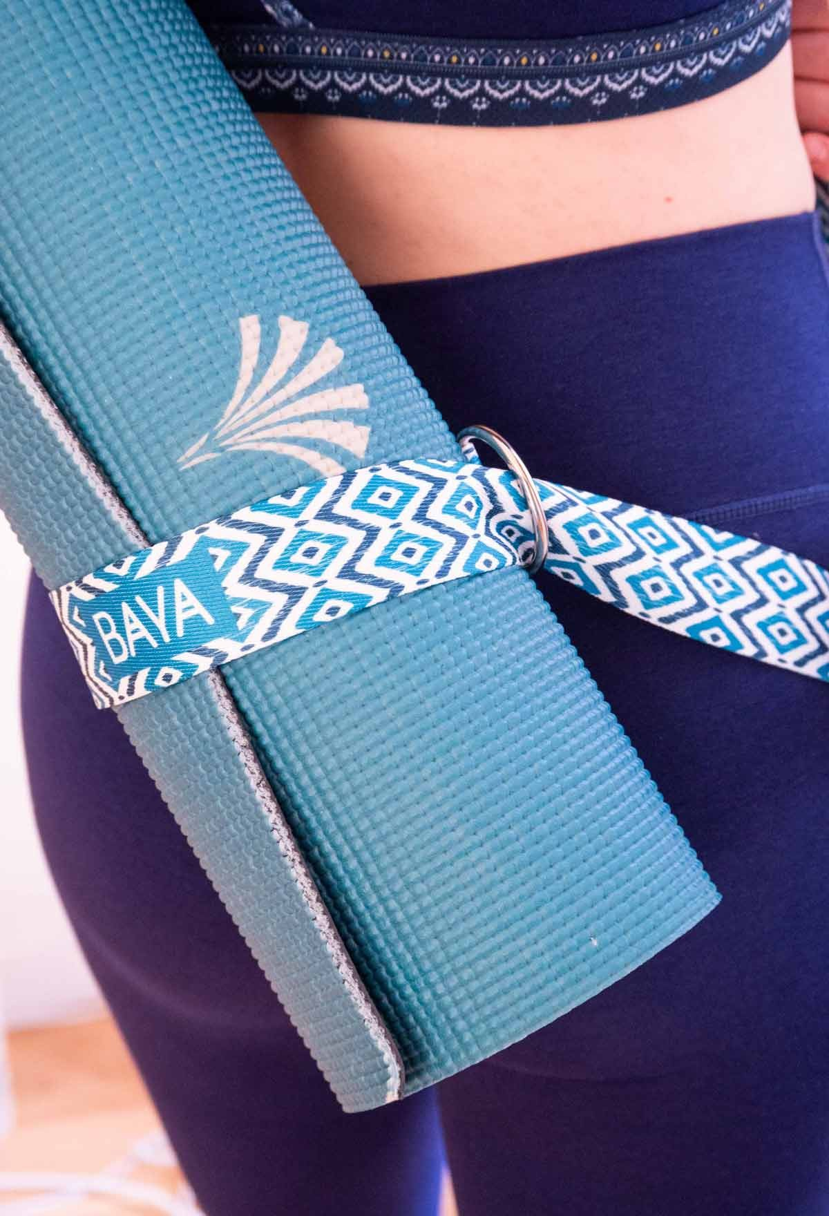 Sangle pour tapis de yoga - bleu